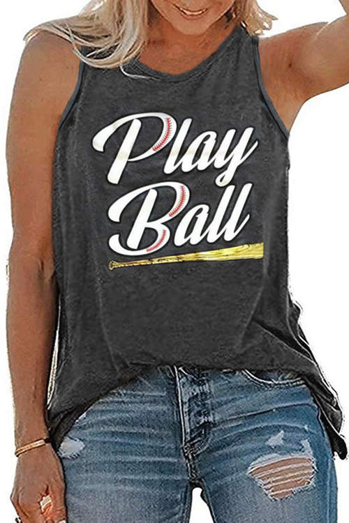 Play Ball Lettered Print Tank Top