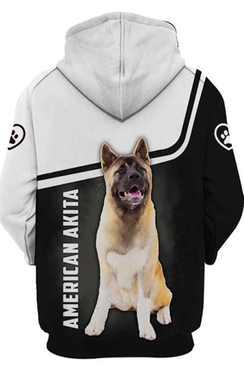 3D Graphic Hoodies  Animals Dogs Art American Akita Paw