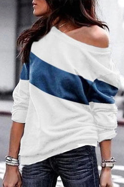 Casual Patchwork Blue T-shirt