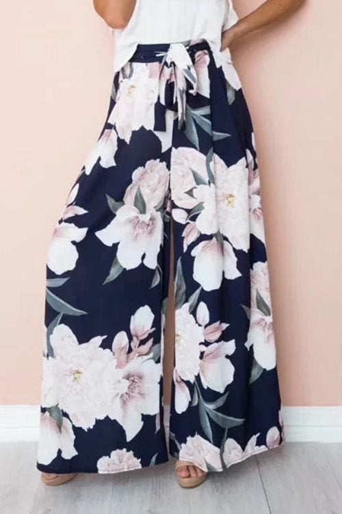 High Waist Loose Print Casual Wide Leg Trousers