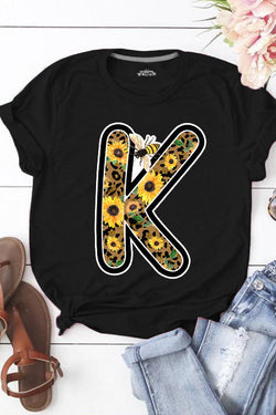 Sunflower Print  Cotton T-Shirt