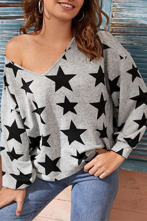 Five-Pointed Star Printed Sweet Versatile T-Shirt