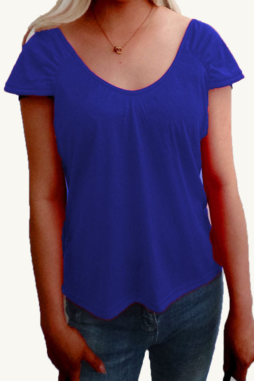 Plain Color Casual  Short SleevesT-Shirt