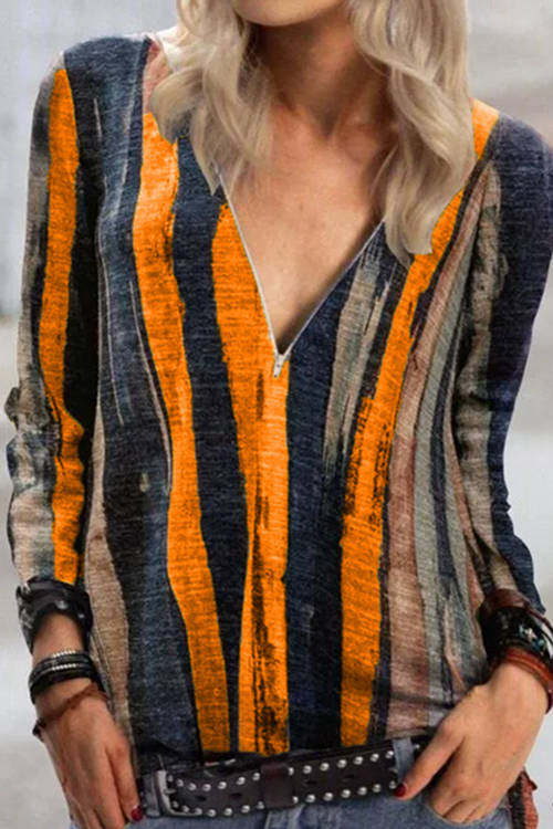 Tie-Dye Striped Printed V-Neck Zip Top
