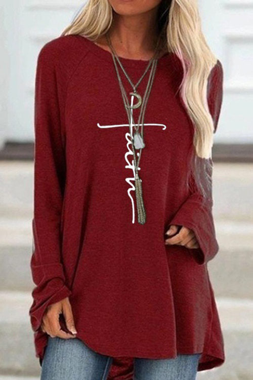 Round Neck Loose Long Sleeve T-Shirt