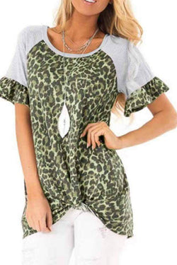 Leopard Printed Flared Sleeve Short Sleeve T-Shirt