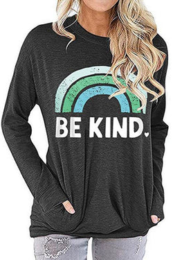 BE KINE Rainbow Printed Loose T-shirt