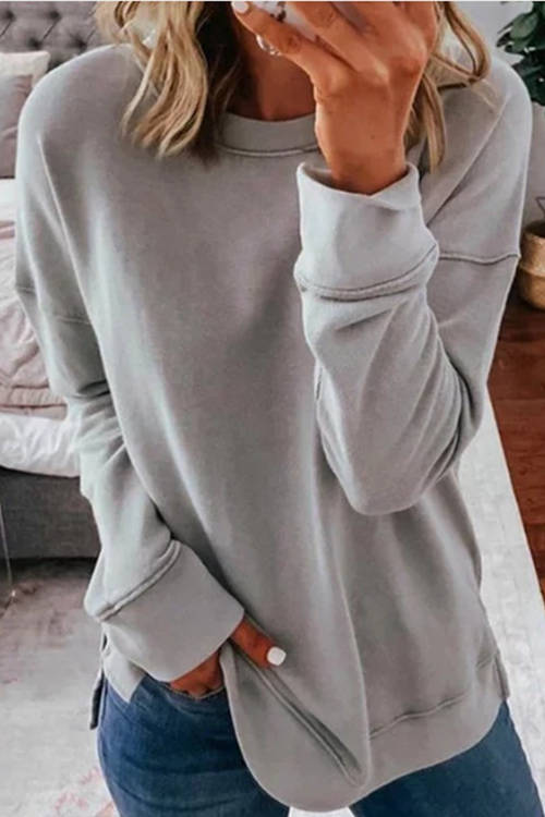 Casual Round Neck Loose Solid Color Long Sleeve T-Shirt