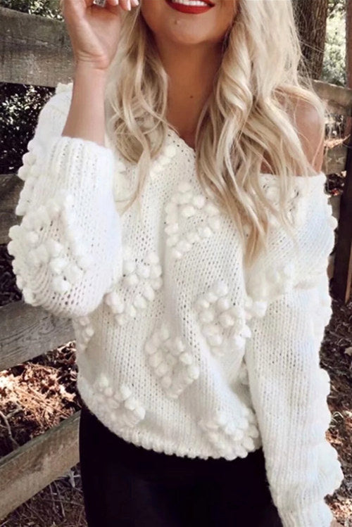 Ball Design White Sweaters