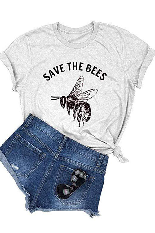 Bee Print Short Sleeve T-Shirt