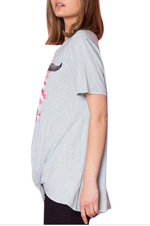 Cow-Print Knotted Hem T-Shirt
