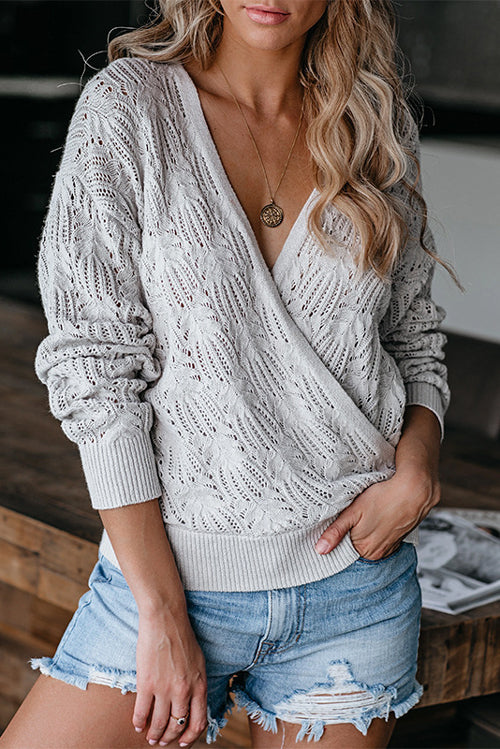 Knitted Solid Color Long-Sleeved Hollow Sweater