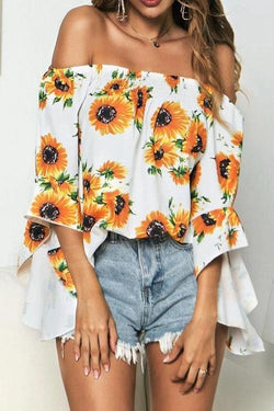 Sunflower Print Flare Sleeve Bardot Blouse