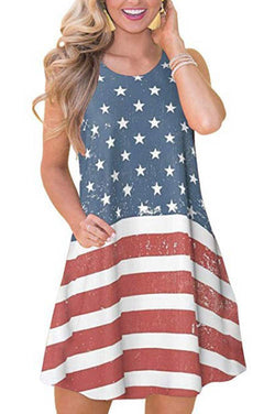 Sleeveless Flag Print Loose Casual Dress