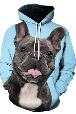 3D Graphic Hoodies Animals Dogs French Bulldog Smile