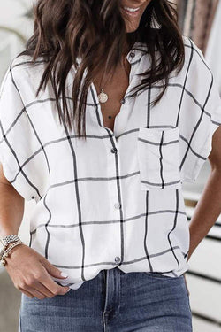 White Stand-Up Bat Sleeve Checked Shirt