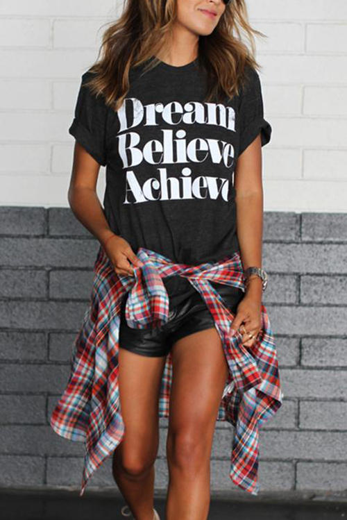 Dream Belive Achieve Letter T-Shirt