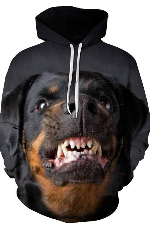 Graphic Hoodies Sweatshirts Animals Dogs Rottweiler Angry
