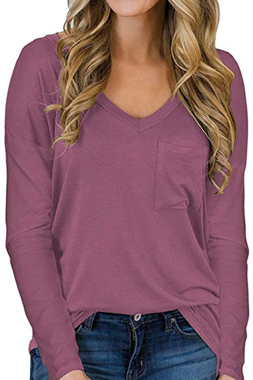 Solid Color V-Neck Long Sleeve Pocket T-Shirt