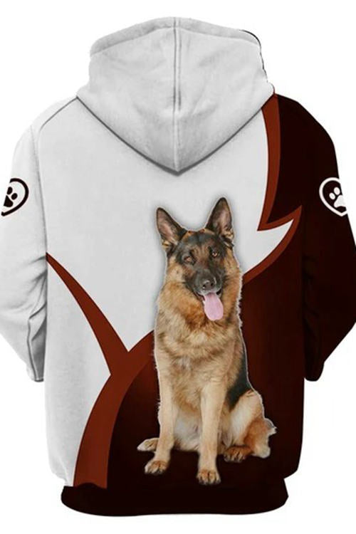 3D Graphic Hoodies Animals Dogs German Shepherd Dog Sit