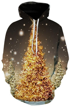Shiny Christmas Tree Print Long Sleeve Hoodie
