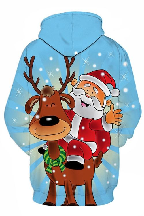 Santa Claus Moose Cartoon Print Long Sleeves Hoodie