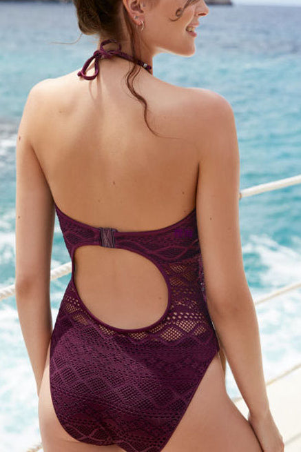 Sexy Net Yarn Solid Color Backless Swimsuit