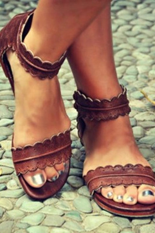 Foot Ring Belt Buckle Flat Sandal