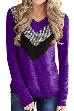Sequins Stitching Long Sleeve T-Shirt
