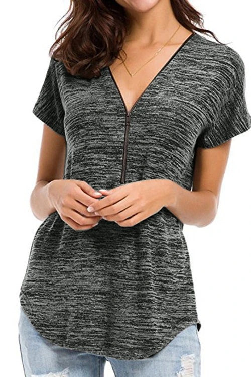 Short Sleeved Zipper Shirt