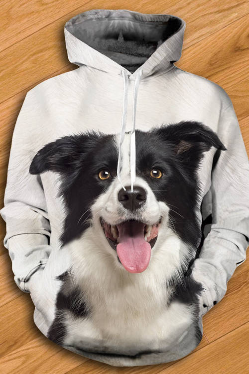 Unisex 3D Graphic Hoodies  Animals Dogs Border Collie Laughing