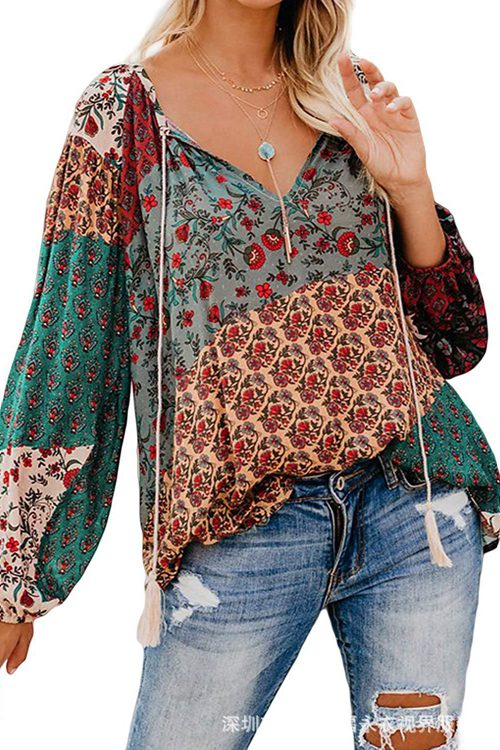 Printed Large V-neck Pullover Loose Drawstring Shirt