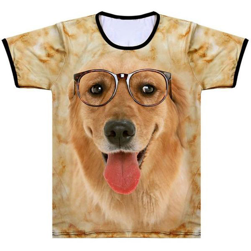 Adult Unisex 3D Short Sleeve T-Sshirt  Golden Retriever
