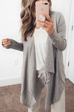 Casual Batwing Sleeve Grey Coat
