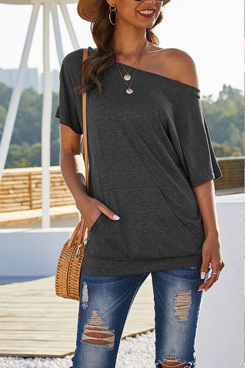 Solid Color Pocket Slant Shoulder T-Shirt
