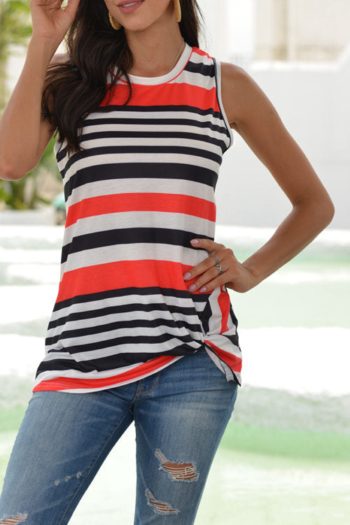 Striped Sleeveless  T-Shirt