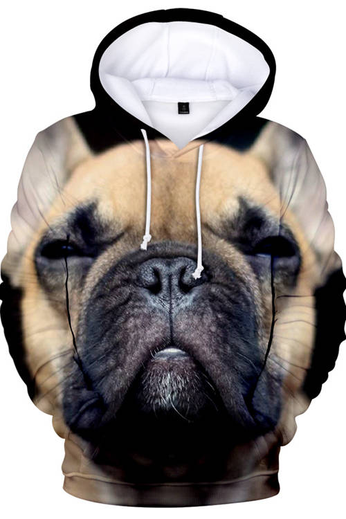 3D Graphic Hoodies  Animals Dogs French Bulldog Sleep