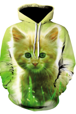 3D Cool Kitten Print Hooded Pocket Pullover Sweatshirt