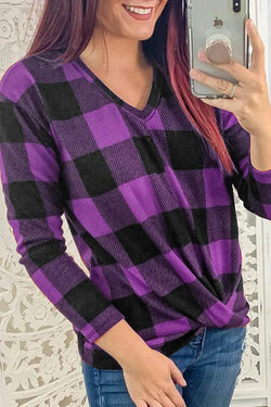 V-Neck Long Sleeve Knotted Checked Shirt