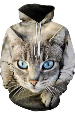 Unisex 3D Graphic Hoodies Animals Cats American Shorthair Big Eyes