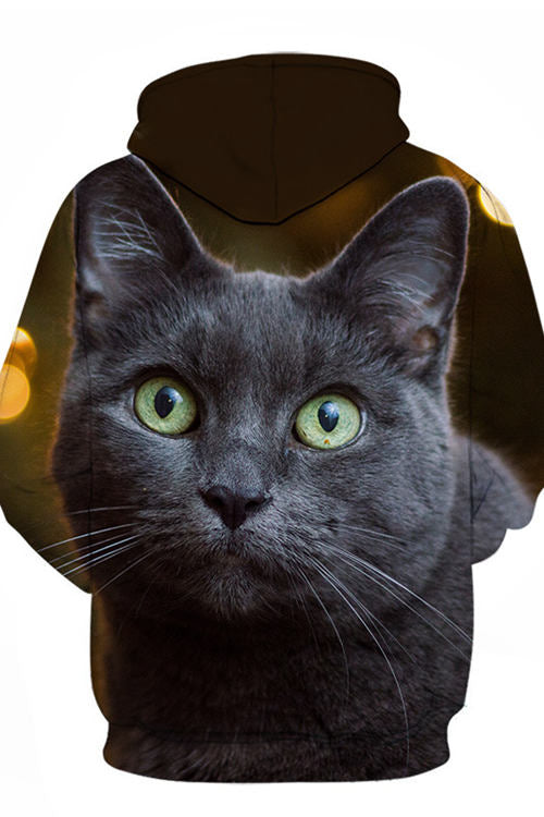 Unisex 3D Graphic Hoodies Animals Cats Russian Blue Gaze