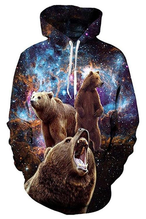 Violent Bear Print Long Sleeve Hoodie