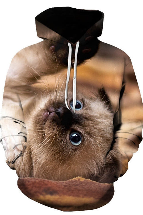 Unisex 3D Graphic Hoodies  Animals Cats Siamese Lie Down