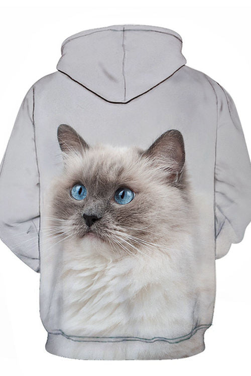 Unisex 3D Graphic Hoodies  Animals Cats Siamese Look Up