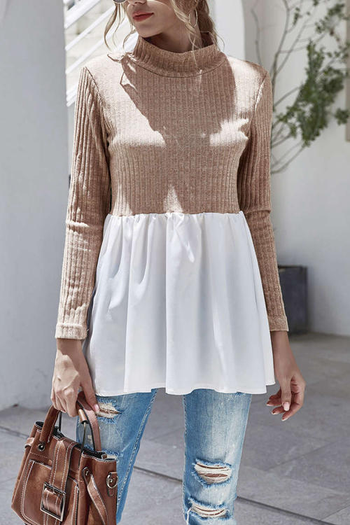 Stand-Up Collar Knitted  Panel Blouse