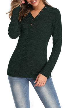 V-Neck Button Solid Color Pullover Sweater