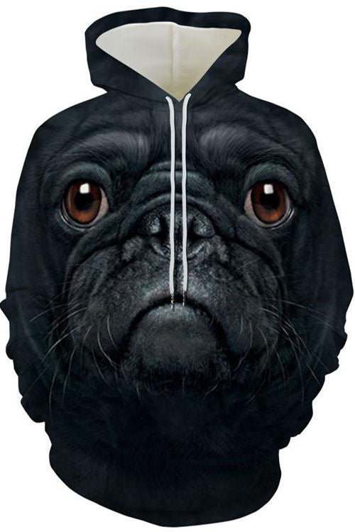 Graphic Hoodies Sweatshirts Animals Dogs Bulldog Pitbull Big Face