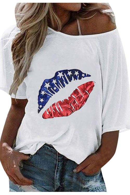 Lip Printed Short Sleeve T-Shirt