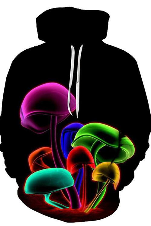 Digital Colorful Mushroom Hoodie