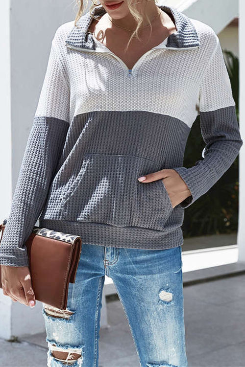 Lapel Zipper Stitching Contrast Pocket Knit Blouse